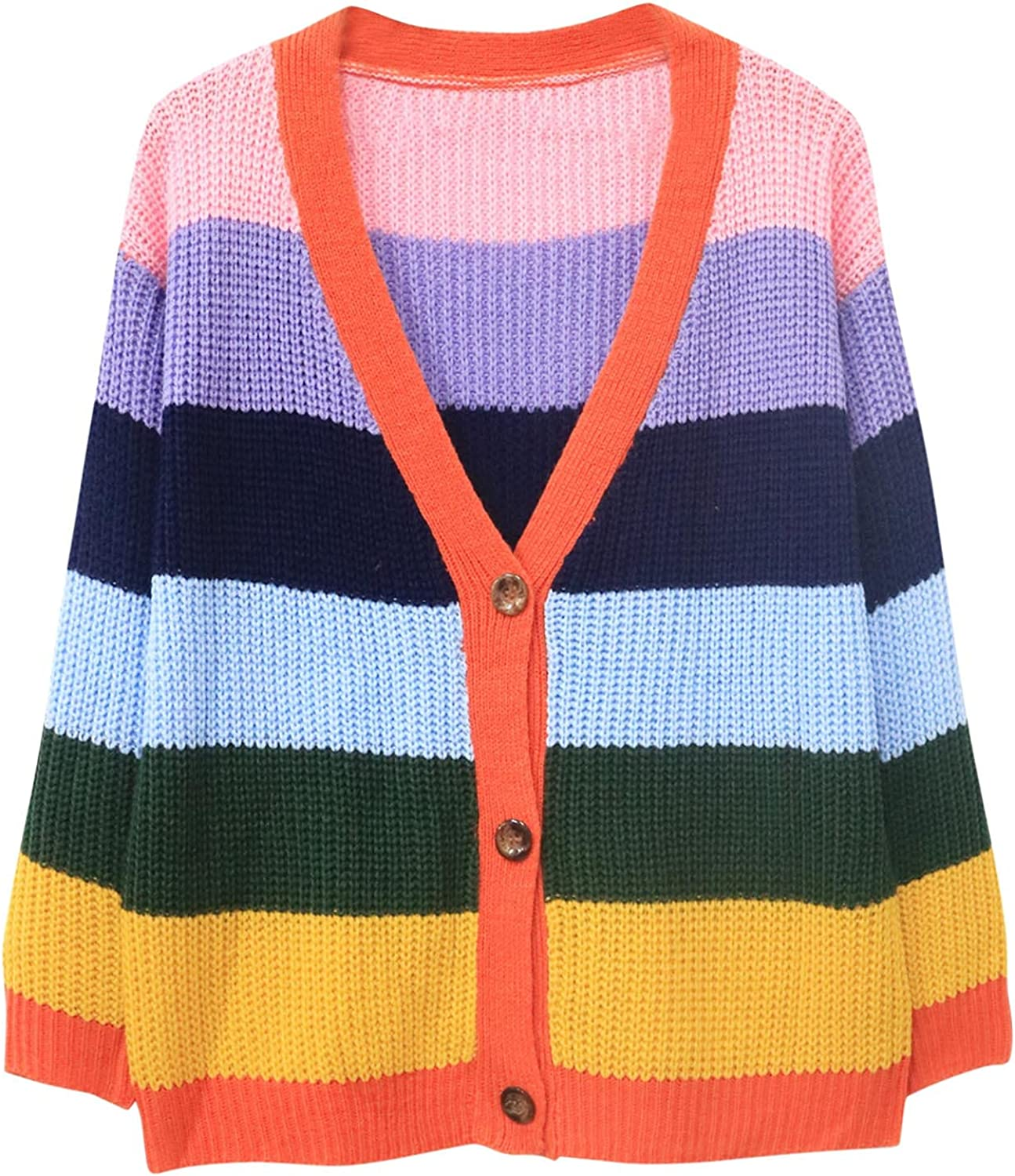Women's Button Down Long Sleeve Cardigan Rainbow Striped Knitted Crop Loose Sweater Top