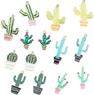 14Pcs Cactus Tropical Theme Floating Charm Pendant Enamel Sequins Dangle Go ld Plated Dainty Ornament Synthetic Glass Living Memory for Necklace Bracelet Ankle Earring Jewelry Making