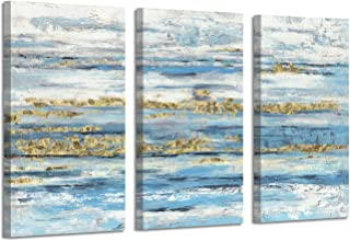 Seascape Abstract Artwork Beach Picture: Seafoam Gold Foil Art Painting Canvas Set for Bedroom( 26