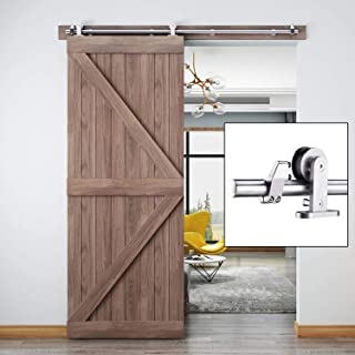 EaseLife 5 FT Modern Stainless Steel Sliding Barn Door Hardware Track Kit,Top Mount,Anti-Rust,Slide Smoothly Quietly,Easy Install,Fit 26