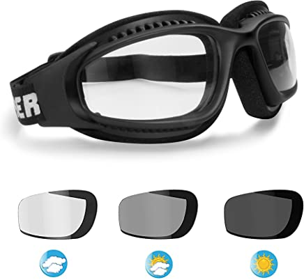 6d87b58839 Motorcycle Goggles for Helmets - Photochromic Ventilated Antifog Lens -  Adjustable Strap with Outriggers - Mat