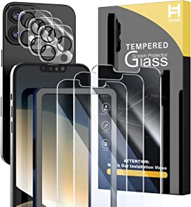 HATOSHI 6 Pack for iPhone 13 Pro, NOT for iPhone 13, 3 Pack Tempered Glass Screen Protector +3 Pack Camera Lens Protector, Easy Installation Tray HD Clear Bubble Free 9H Protective Screen Film 6.1inch