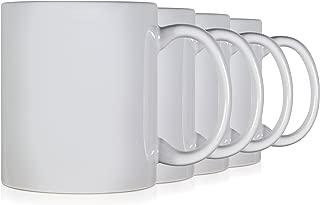Serami White Colored Ceramic Classic Coffee Mugs Large Handles with 11oz Capacity, Set of 4