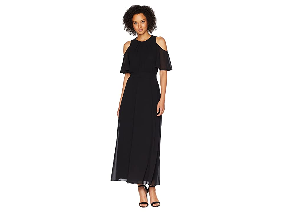 Calvin Klein Solid Cold Shoulder Maxi Dress (Black) Women