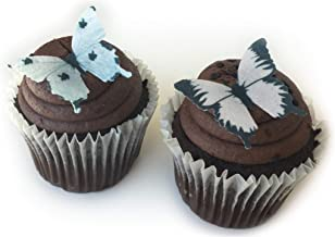 Black and White Assorted Wafer Paper Butterflies 1.75 Inch for Decorating Desserts Cupcakes Wedding Cakes Pack of 24