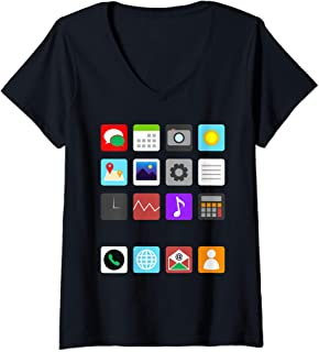 Womens Smartphone Mobile App Cell Phone Halloween Costume Gifts V-Neck T-Shirt