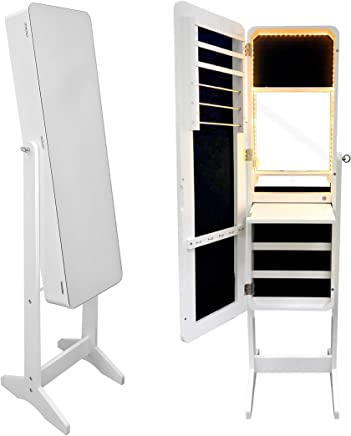 CLass Jewelry Mirror Cabinet with LED Lights & Cupboard Inside, White