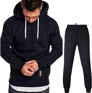 QJKai Sportanzug Herren lang/ärmelige schnelltrocknende Fitnessjacke mit Kapuze f/ür den Au/ßenbereich Laufbekleidung 4-teilig