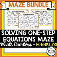 Solving One Step Equations with Whole Numbers Maze Bundle