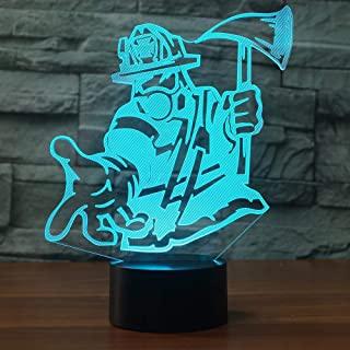 Jinnwell 3D Fire Fighter Fireman Night Light Lamp Illusion 7 Color Changing Touch Switch Table Desk Decoration Lamps Led Christmas Gift with Acrylic Flat ABS Base USB Cable Toy