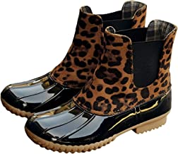 Kathemoi Womens Duck Boots Slip on Waterproof Mid Calf Two Tone Snow Rain Boots
