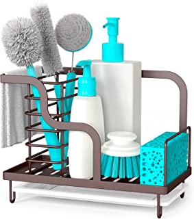 FavoThings Kitchen Sink Caddy Organizer Farmhouse Sponge Holder with Drain Pan, Premium 304 Stainless Steel, for Sponges, ...