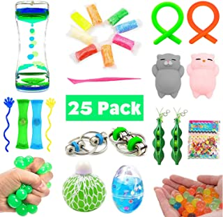 Bundle Sensory Fidget Toys Set-Liquid Motion Timer/Grape Ball/Soft Egg Slime/Flippy Chain/Stretchy String/Ultralight clay/Mesh & Marble Toy/Soybeans Squeeze/Mochi Squishy,Stretch Toys Children/Adult