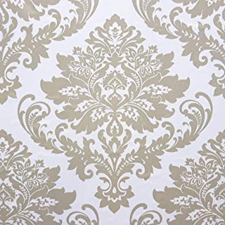 Wallpaper White Damascus Flower Gold Wallpaper Yellow Peel and Stick Wallpaper Removable Wall Paper Wall Covering Embossed Self Adhesive Wallpaper Shelf Drawer Liner Vinyl Decal Roll17.7''x78.7''