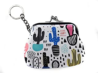 Cute Watercolor Cactus Coin Purse Kiss-lock Clasp Keychain Wallet Mini Pouch Key Bag for Women Gifts