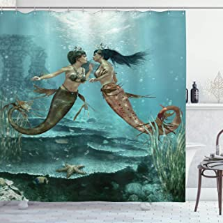 Ambesonne Mermaid Shower Curtain, Composition with Mythological Beings in Bottom of Ocean Sea Star and Seaweed Motif, Cloth Fabric Bathroom Decor Set with Hooks, 70