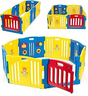 Kidzone Interactive Baby Playpen 8 Panel Safety Gate Children Play Center Home Child Activity Pen ASTM Certified Blue