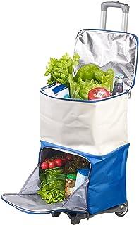 Xcase Einkaufstrolley: 2in1-Einkaufs-Tasche-Trolley mit geteilten ISO-Kühltaschen, 45 Liter Einkaufswagen