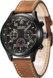 Mens Quartz Wrist Watch, Roman Numeral Business Casual Fashion Leather Watches with Classic Calendar Date Window Waterproof and 30M PU Strap