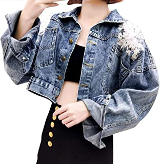 Rosatro Women Denim Jackets Ladies Comfort Fit Button Turn-Down Jeans Shirts Appliques with Pockets Overcoat Jacket