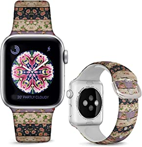 DOO UC Silicone Floral Bands Compatible with Apple Watch 42mm/44mm for Women Girls, Retro wood grain Fadeless Pattern Printed Sport Strap Replacement for iWatch SE & Series 6 & Series 5 4 3 2 1 M/L