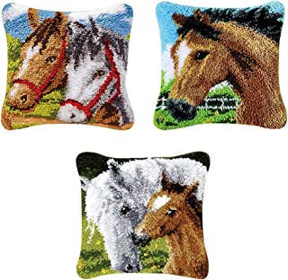 Baoblaze DIY Latch Hook Kit Rug Making Crafts for Kids Beginners, 17 inch x 17 inch, Lovely Horse , Present for Birthday, Holidays, Anniversaries, Christmas
