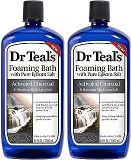 Dr Teal's Epsom Salt Activated Charcoal & Hawaiian Black Lava Salt Foaming Bath - Pack of 2, 34 Oz ea - Detoxify and Moist...