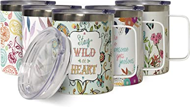 Wild at Heart Insulated Stainless Steel Coffee Mug with Lid, Double Wall Garden Lover Travel Friendly Mug with Handle