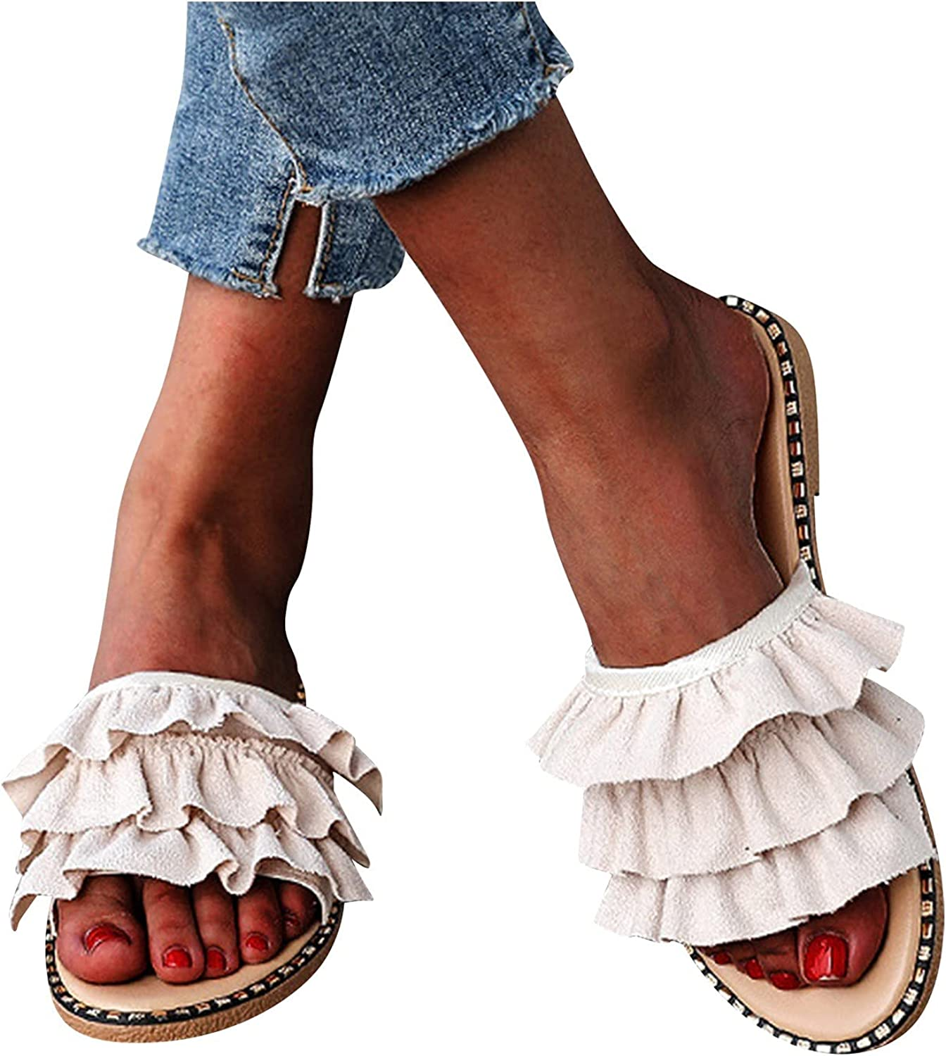 USYFAKGH Wide Width Sandals For Women Fashion Women's Casual Shoes Breathable Outdoor Pure Color Slippers