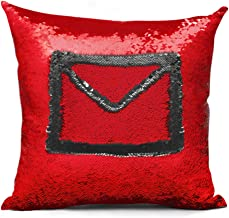 shevalues Magic Mermaid Pillow Cover Reversible Sequins Color Changing Pillow Case Funny Home Decoration (Black and Red)