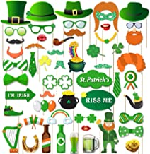 Supla 55 Pack St. Patrick's Day Photo Booth Props Kit Lucky Irish Day Photo Props Set for DIY Irish Party Accessories Wedding Decorations