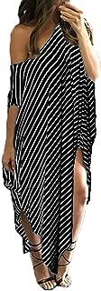 Women Maxi Dress Striped Long Dresses Casual Loose Kaftan Oversized Round Neck Sundress