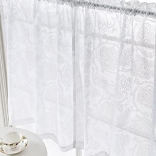 White Tier Curtains 36 inches Small Window Kitchen Curtains Floral Scroll Voile Decorative Crisp Window Curtains with Paisley Pattern Brathroom Curtains 1 Pair