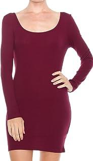 KAYLYN KAYDEN KLKD Women's Solid Ribbed Knit Boat Neck Long Sleeve Bandage Bodycon Midi Dress