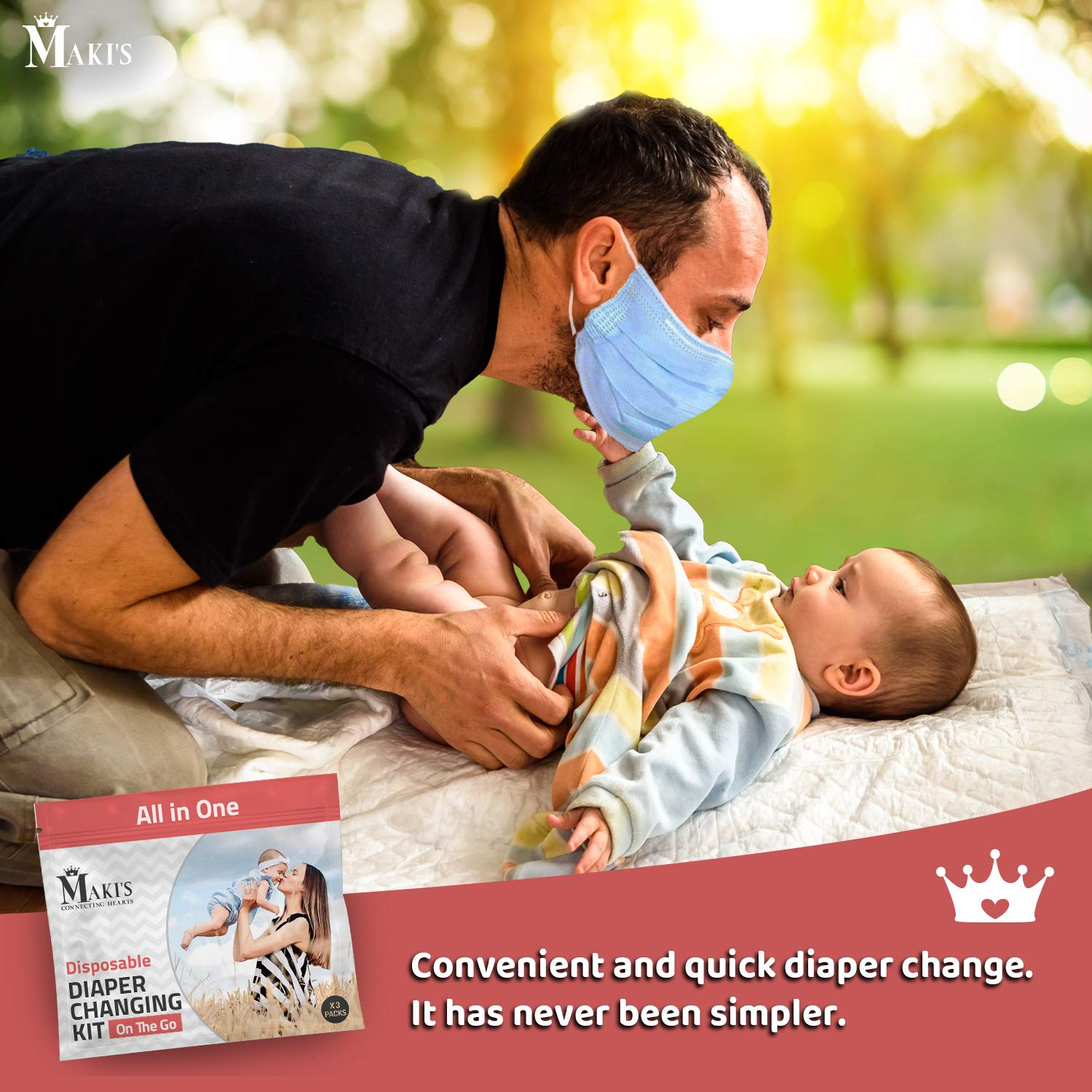Maki's Disposable Diaper Changing Kit to Go   Contains 3 Individual Packs   Perfect for Travel   Portable Baby Changing Essentials (Size 3)