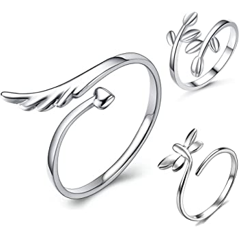 lauhonmin 3pcs S925 Sterling Silver Open Rings Set Finger Ring Joint Ring Toe Ring Beach Jewelry Gifts for Women Girls Adjustable