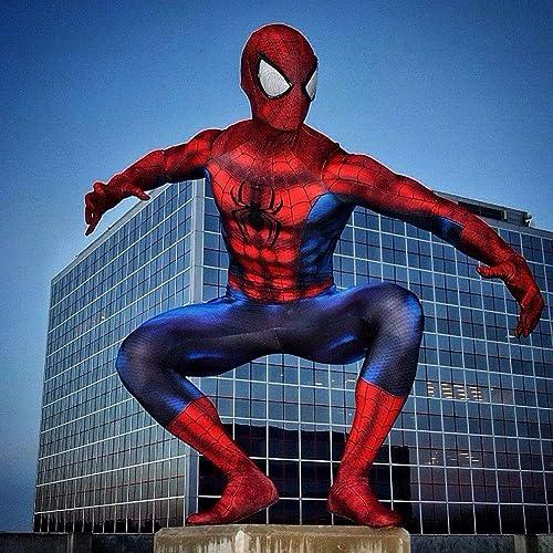 SEJNGF Superheld Spider-Man Siamese Strumpfhose Halloween Cosplay Kostüm (Kopfbedeckungen K en Nicht Getrennt Werden),rot-M