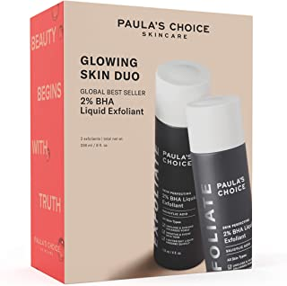Paula's Choice Limited Edition Glowing Skin Duo - Skin Perfecting 2% BHA Liquid Salicylic Acid Facial Exfoliant Set for Blackheads, Large Pores & Wrinkles - Kit Includes 2 Full Size Bottles