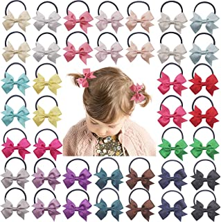 "DeD 40PCS Baby Tiny 2"" Pinwheel Hair Bows Elastic Hair Ties Glitter Grosgrain Ribbon Rubber Bands Pigtail Holders Hair Accessories for Girls Infants Toddlers Kids In Pairs"