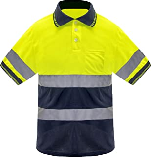 Safety Short sleeve T-shirt Reflective stripes Safety Hi-vis Yellow knitted shirt Bright Construction Workwear for men .Yellow Meets ANSI/ISEA Standards. (3XL)