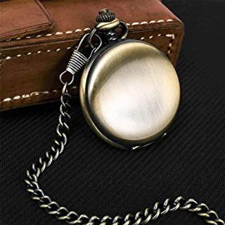 Pocket Watch With Chain Personalized Retro Smooth Men Black Silver Polish Quartz Pocket Watches Pendant Custom Engraved Gi...