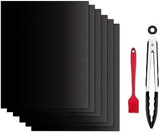 SPLAKS Tapis de Cuisson pour Barbecue, Set de 6 Tapis Barbecue 100% Anti-adhérent de BBQ et Feuilles de Cuisson réutilisab...