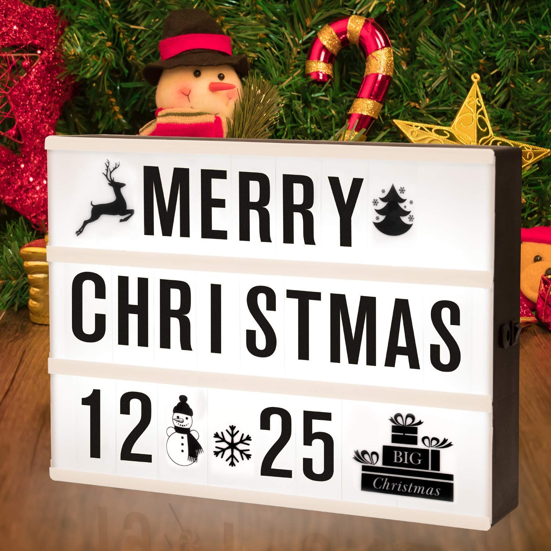 SUNNEST Caja de Luz A4 con 96 Letras y Emojis 80 Tarjetas de Fiestas Cartel Luminoso LED, Ideal para Decoración y Regalo para Niñas, Niños en Cumpleaños, Navidad: Amazon.es: Iluminación