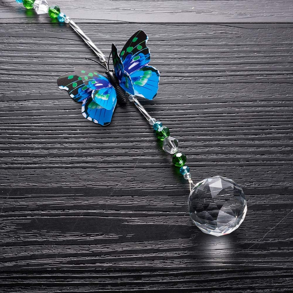 Colorful Butterfly Crystal Hanging Ornament Set Ball Jewelry Pendant Ceiling Light Fan Pull Chain Blue