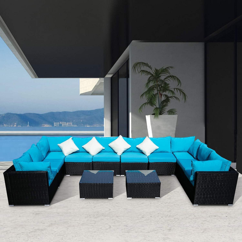 All items free shipping DOIT Outdoor Rattan 4 years warranty Patio Garden Sofa Wicker Sectional Fur