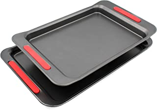 Kitchen Details 2 Piece Multi Sized Professional Non Stick Oven Tray Set for Baking - Non-Toxic Rimmed Carbon Steel Baking Pans Cookie Sheets with Wide BPA Free Red Silicone Handles Oven Safe