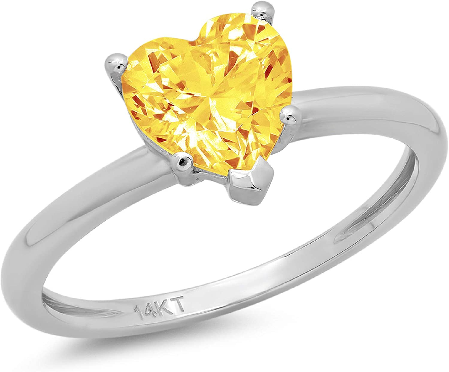 1.9ct Brilliant Heart Cut Solitaire Natural Yellow Citrine Ideal VVS1 5-Prong Engagement Wedding Bridal Promise Anniversary Ring Solid 14k White Gold for Women