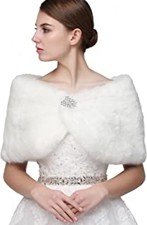 Women's Shawl Wrap Faux Fur Scarf Stoles for Wedding Dresses