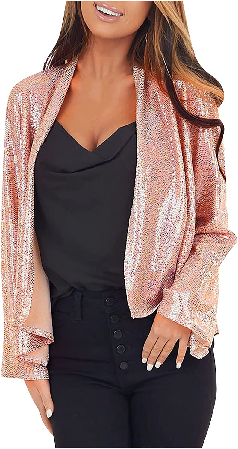 VonVonCo Cardigan Coat for Women Pure Color Round Neck Sequin Suit Jacket Casual Blouses and Tops