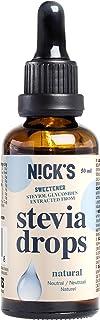 NICKS Stevia Drops, stevia líquida en gotas sin azúcar, cero calorías, edulcorante líquido aromatizado 50 ml (Natural)